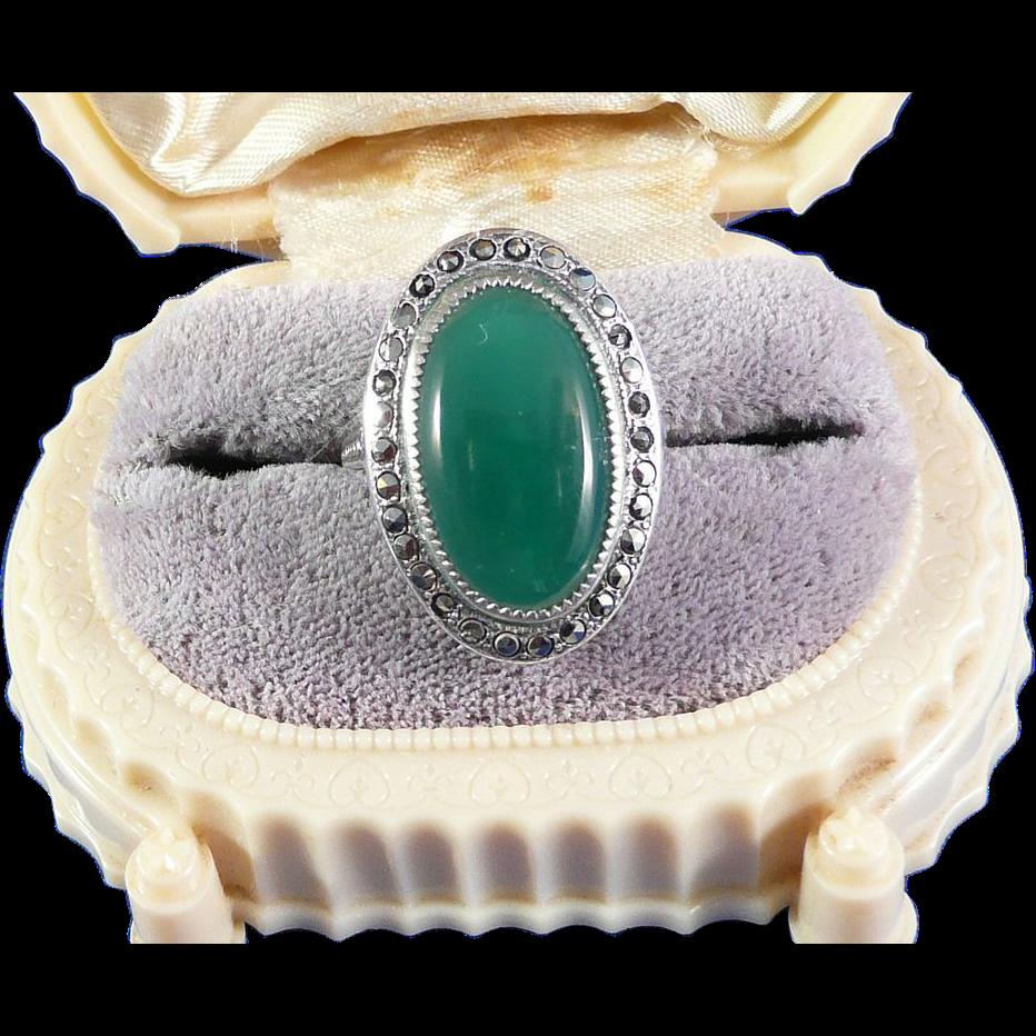 Vintage Marcasite Sterling Green Agate Ring
