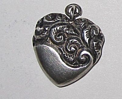 Victorian Sterling Chased Engraved Heart