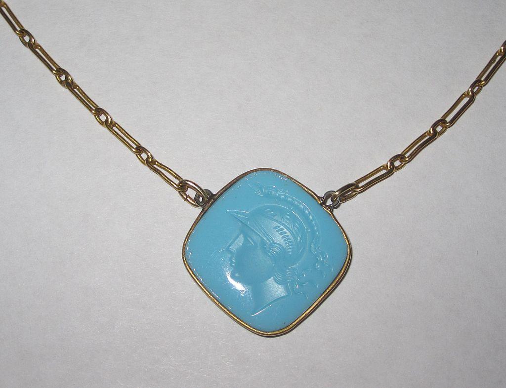 Vintage Glass Intaglio Necklace