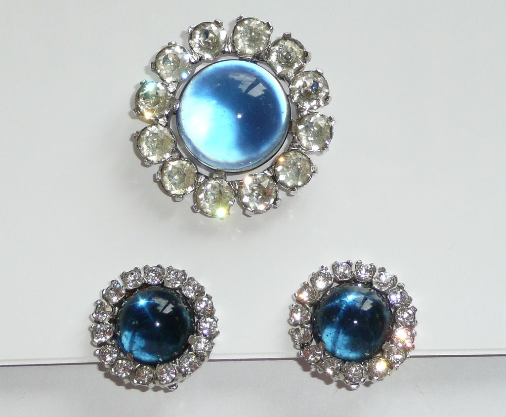 Vintage Signed Jomaz Brooch and Earrings