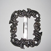 Antique Repousse Sterling Belt Buckle