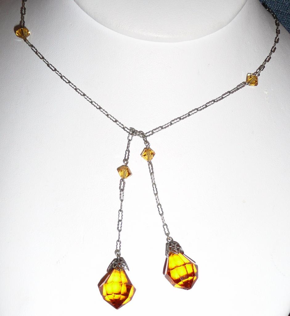 Edwardian Lariat Crystal Lavaliere Orange Color