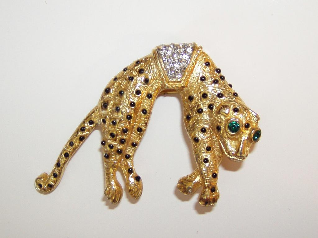 Vintage Golden Leopard Brooch Tail Moves