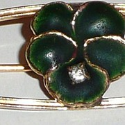 Vintage Green Enamel Flower Pin