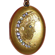 Girl's Face with Crescent Moon Locket