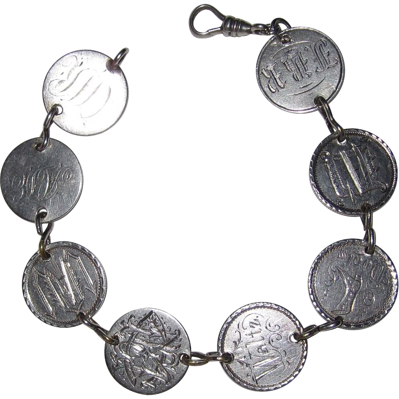 Wonderful Victorian Love Token Bracelet 8 Tokens