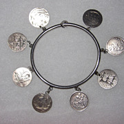 Victorian Love Token Bangle Bracelet  8 Tokens Pictorials