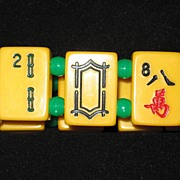 Mahjong Bracelet Made From Vintage Bakelite Tile Green Accents