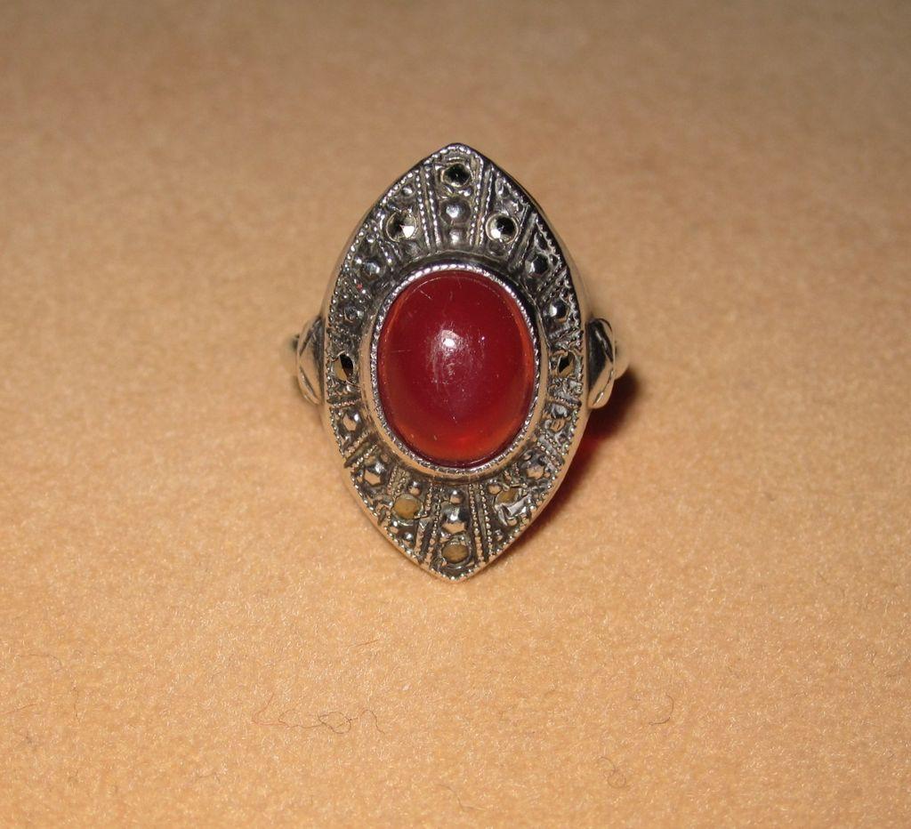Vintage Marcasite Ring Art Glass Art Deco