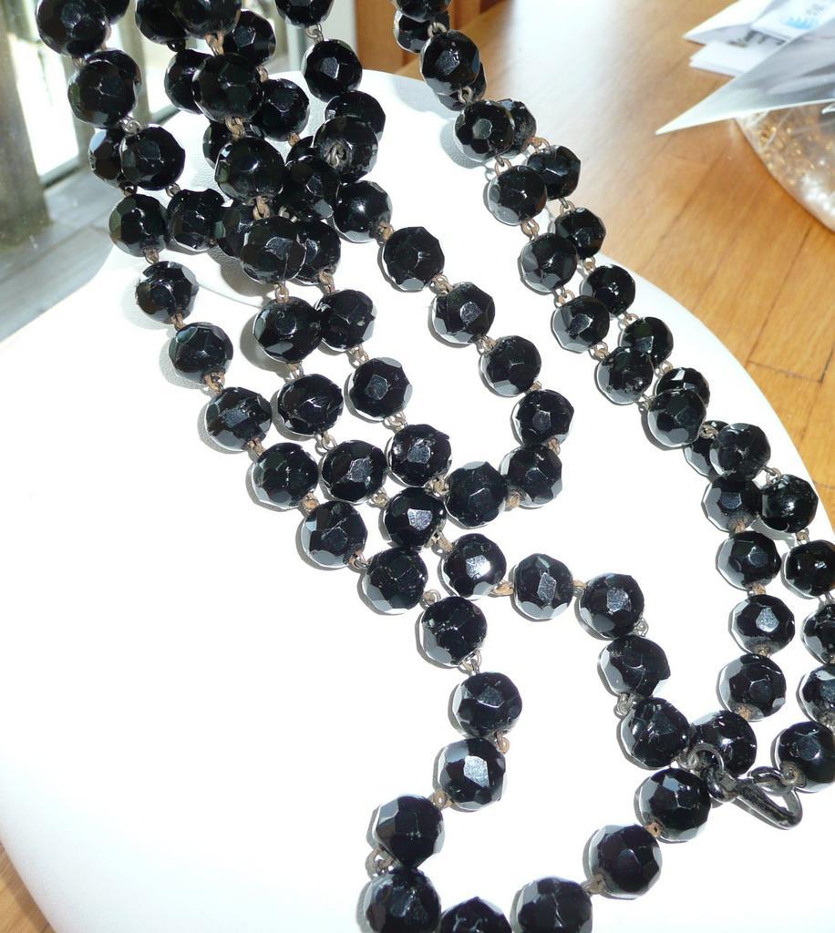 Victorian Black  Muff Chain 80 Inches