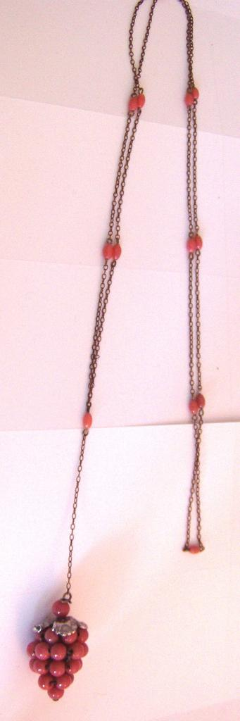Vintage Faux Pink Coral Glass Grapes Necklace and Earrings