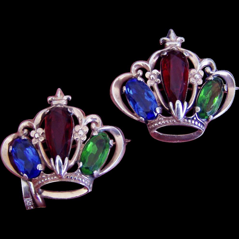 Pair Vintage Sterling Crown Pins Brooches