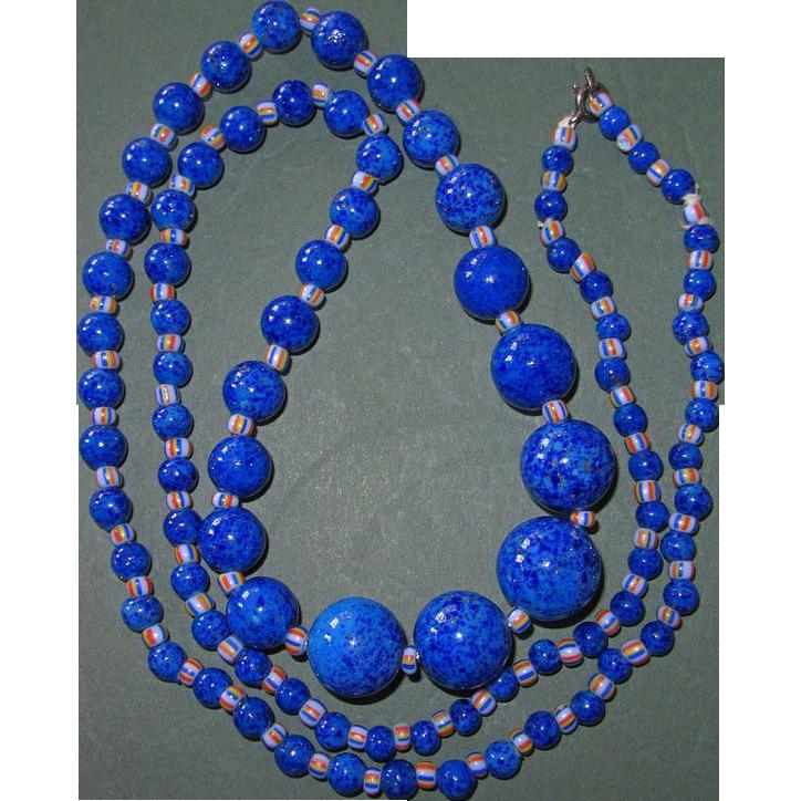 Long Art Deco Peking Glass Blue Beads