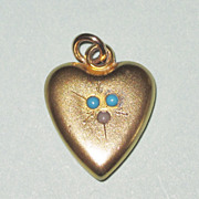 Victorian Heart Charm Turquoise