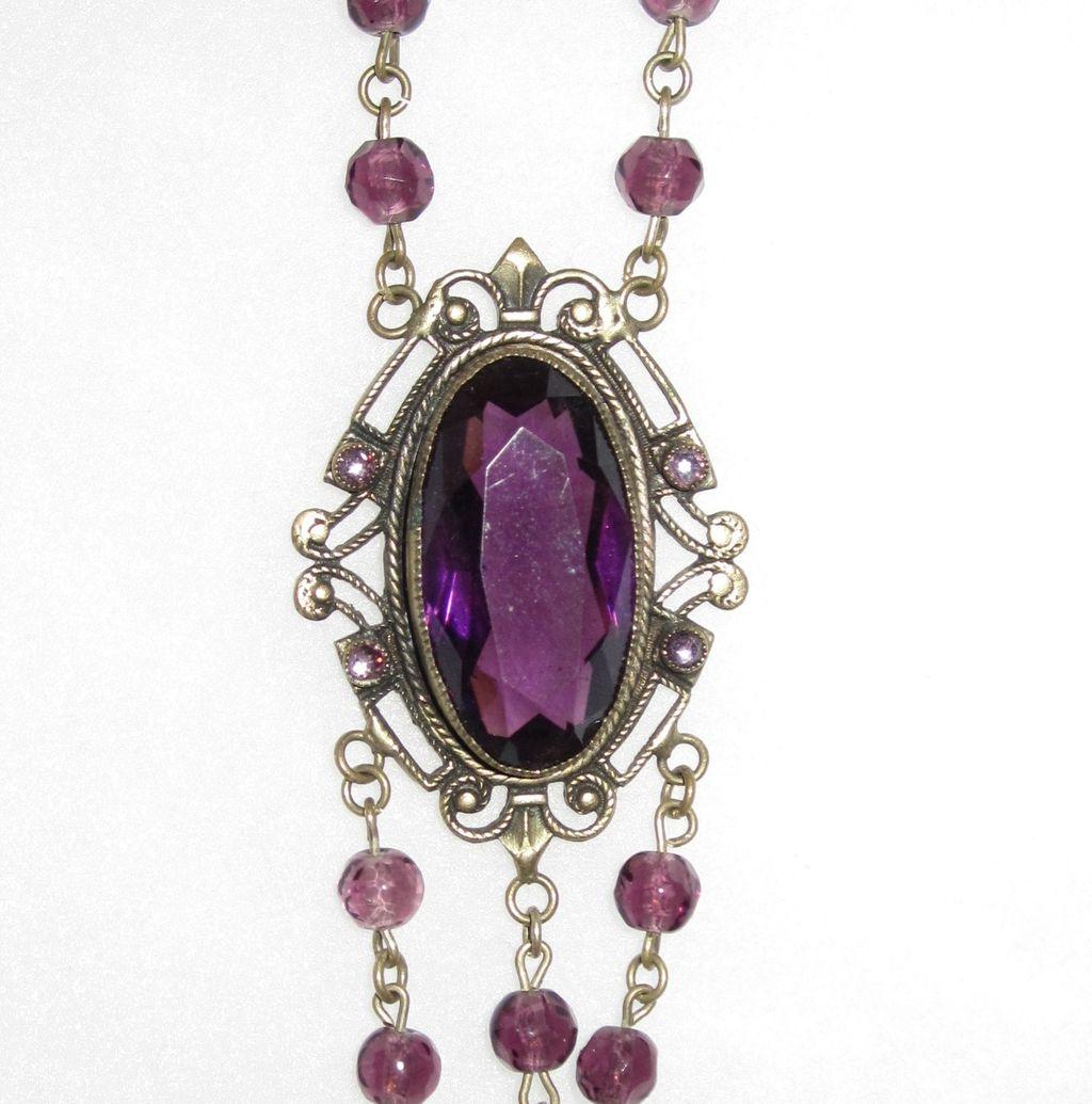 Victorian Purple Long Pendant Necklace