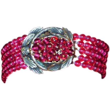 Incredible Vintage Red Glass bead Bracelet