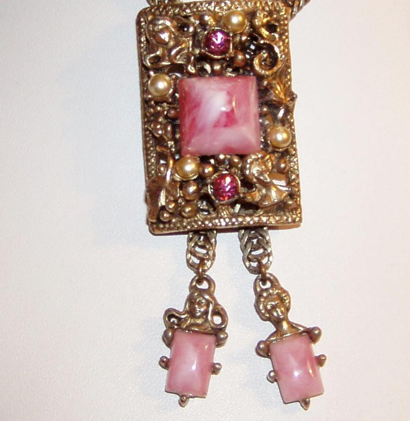 Vintage Selro Pink Bolo Necklace Nouveau Faces