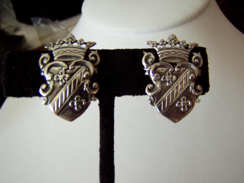 Sterling Crown and Shield Motif Earrings
