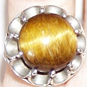 Mexican Silver Tiger Eye Stone Ring Size 6
