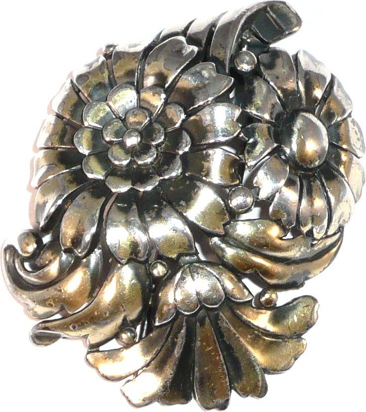 Trifari 'Alfred Philippe' Silvertone Deco Triple Floral Spray Pin Clip