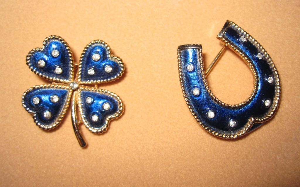 Vintage Trifari Four Leaf Clover and Horseshoe Pins Blue