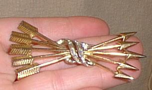 Trifari Rhinestones Arrows Brooch Large