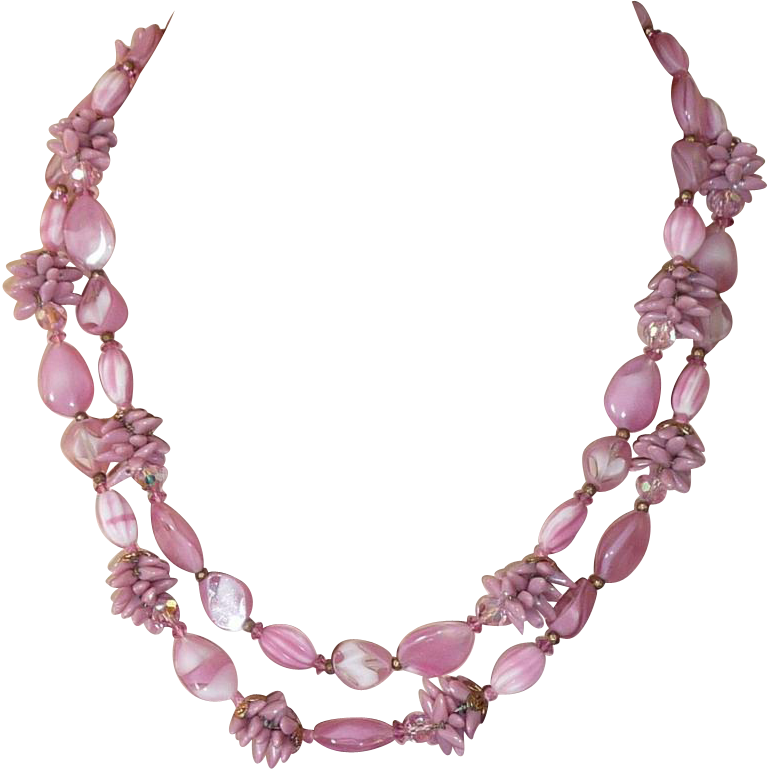 Unsigned Fancy Vintage Pink Glass Beads Set