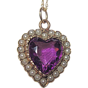 Victorian Puffy Heart Charm Seed Pearls Purple