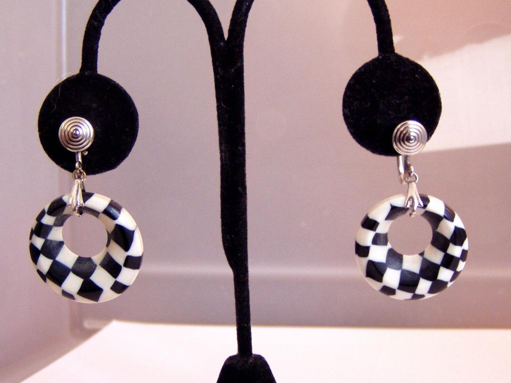 Black and White Checkerboard Plastic Earrings