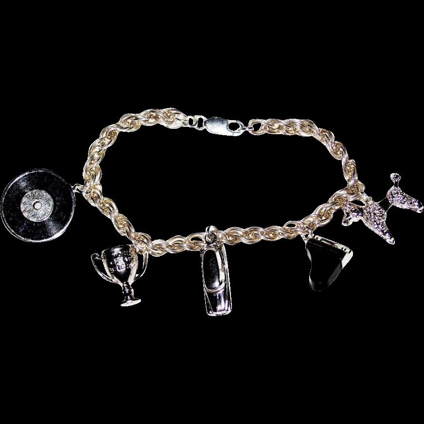 Vintage Sterling Silver Charm Bracelet Great Charms