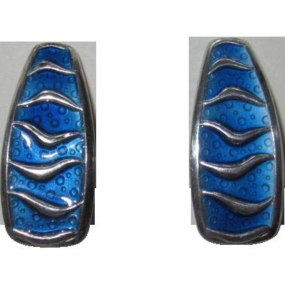 Vintage David Andersen Wave Earrings Blue