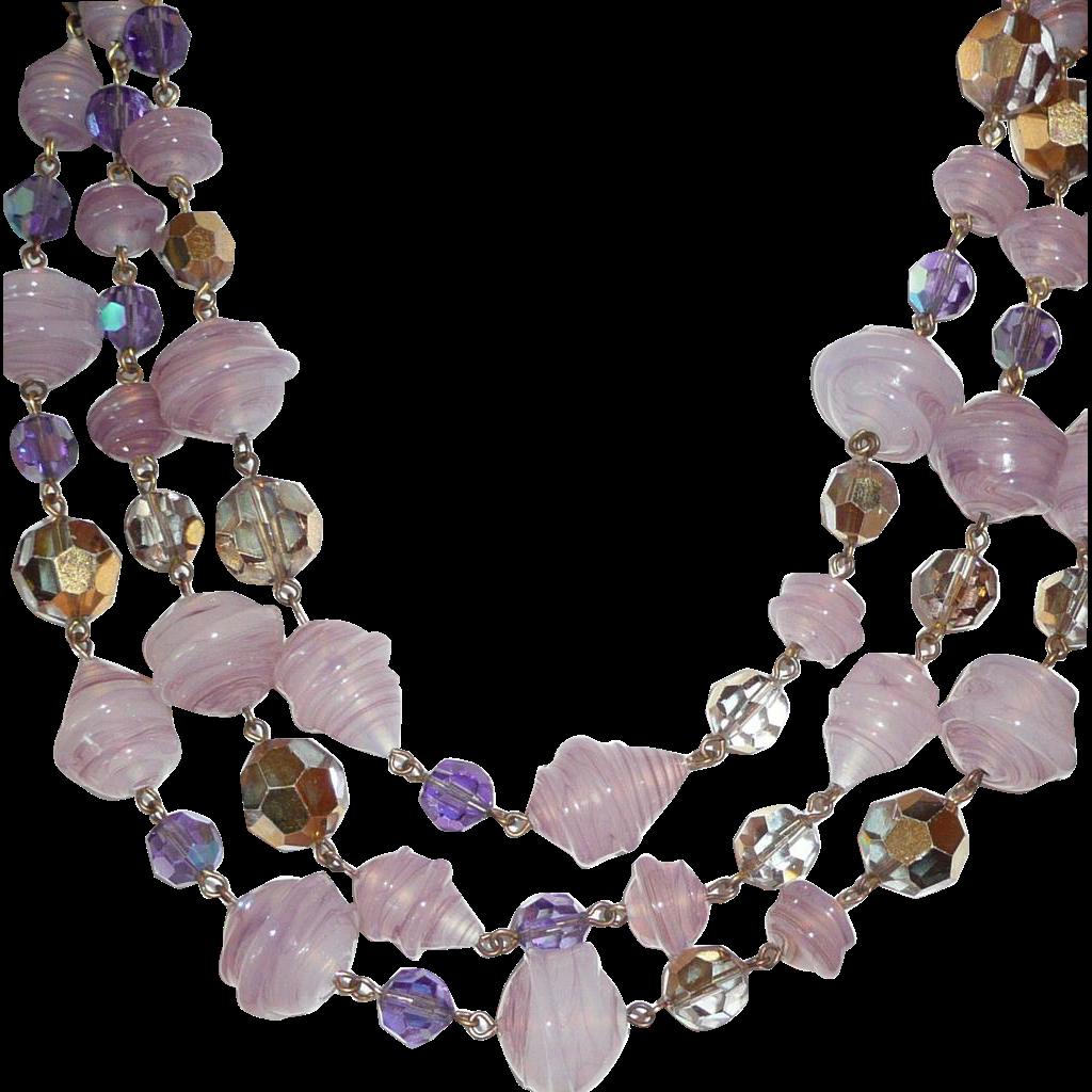 Outstanding Lilac Swirled West Germany Artglass Beads Set