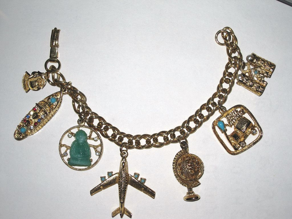 Round the World Travel Vintage Charm Bracelet