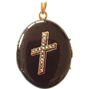 Victorian Enamel Mourning Locket Cultured Seed Pearls Cross Motif