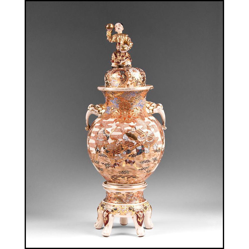 Three part Meiji Period Japanese Satsuma Vase, Base, And Cover
