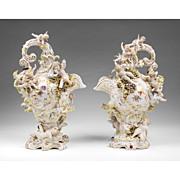 Pair of 19th C. Volkstedt Porcelain Cherub Encrusted Ewers