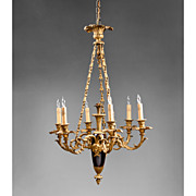 Late 19th C. Empire Style Marble And Bronze French Chandelier