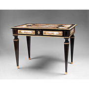 Third Quarter 19th C. Viennese Ebonized Gilt Bronze Mounted Salon Table, Enamel Plaques