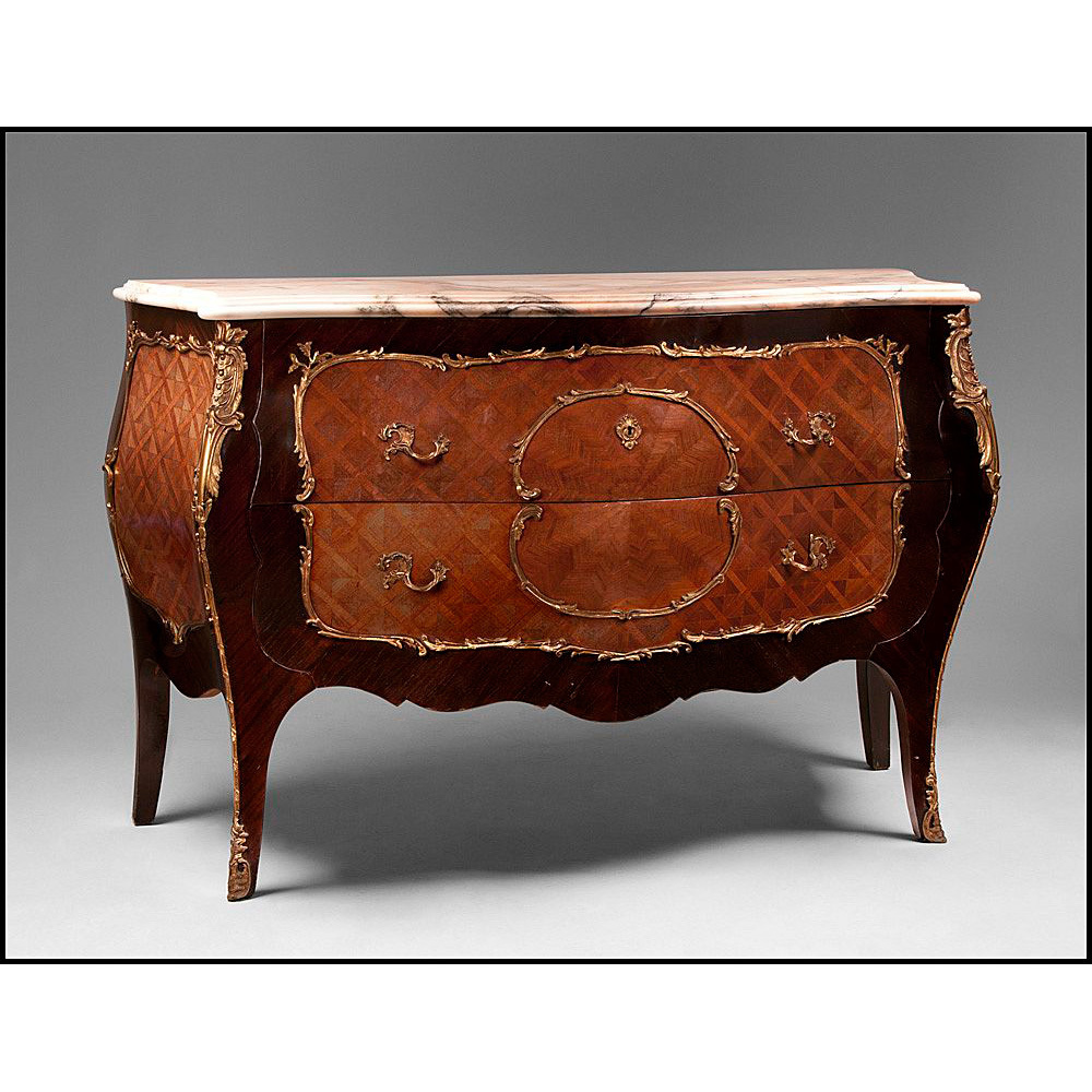 Early 20th C. Louis XV Marquetry Bombe Commode With Marble Top