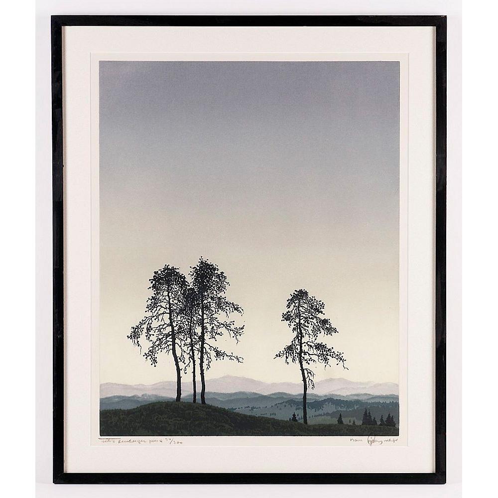 Hans Figura Color Etching and Aquatint; Trees on Ridge c. 1920