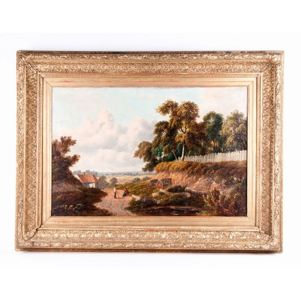 19th C. English Pastoral Oil Painting On Canvas By B. Cook