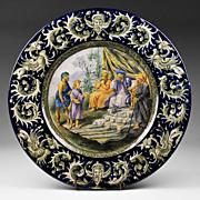 Italian Urbino Style Tin Glazed Majolica Istoriato Plate