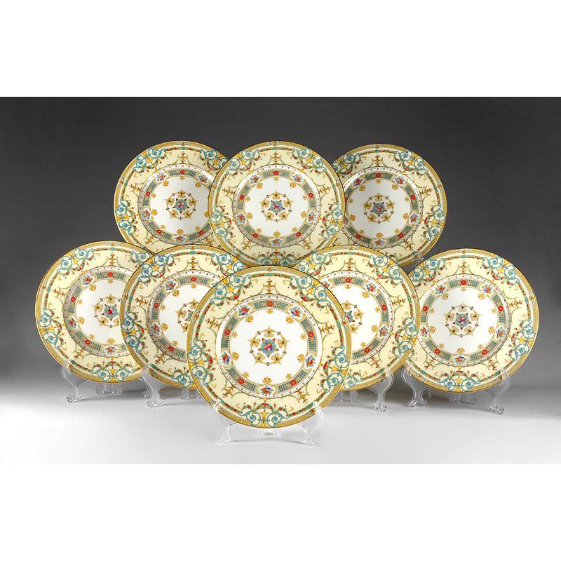 Royal Worcester Service Plates, Raised Enamel, 8