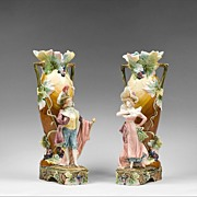 Pair of French Art Nouveau Barbotine Figural Majolica Vases