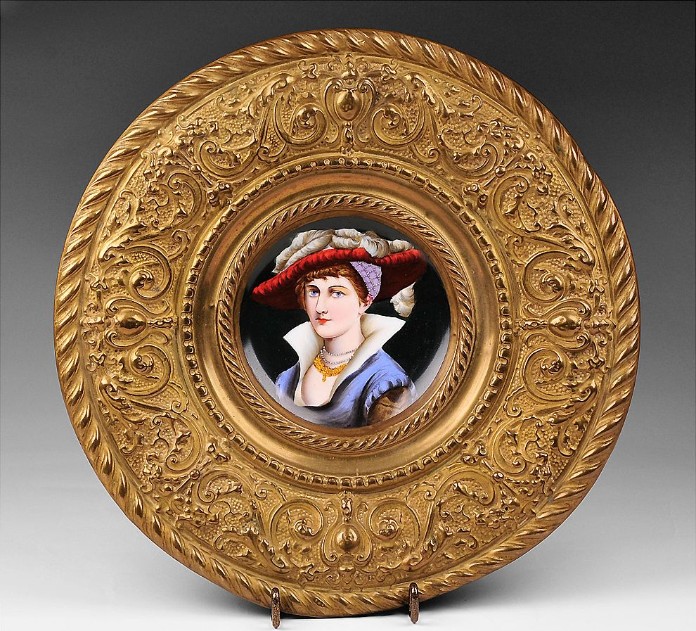 Hand Painted Enamel Plate Set Into Brass Embossed Frame