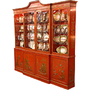 SALE George III Style Breakfront Painted in Chinese Red Chinoiserie Style by David Hazy