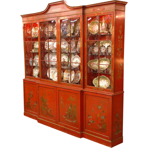 George III Style Breakfront Painted in Chinese Red Chinoiserie Style by David Hazy