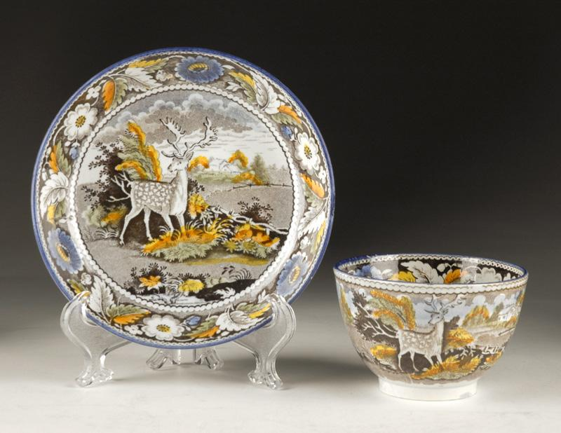 Early 19th C. Multi-Color Transfer Printed Tea Bowl & Saucer