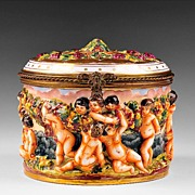 Large French Capodimonte Style Porcelain Box