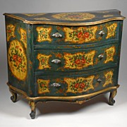 Painted Venetian Commode, Rococo Style, Teal & Ochre Reserves